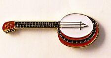Metal Enamel Pin Badge Brooch Banjo Play Music Musician Strings Guitar
