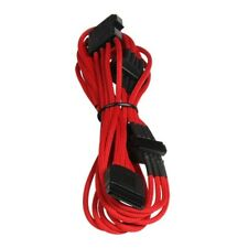 20cm Male molex 4pin to 4 x SATA Power Braided Cable Red Computer Lead