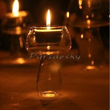 Mushroom Shape Crystal Glass Candle Holder Candlestick Romantic Dinner Decor