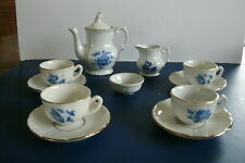 VINTAGE- Porcelain China Doll House Child Miniature Toy White Blue Rose Tea Set