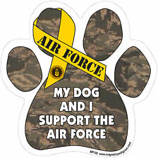 My Dog And I Support The Air Force - Made In USA - Paw Army Magnetic Car Decal