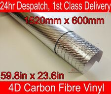 4D Carbon Fibre Vinyl Wrap Film CHROME SILVER 600mm(23.6in) x 1520mm(59.8in)