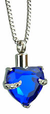 Cremation Jewellery Ashes Memorial Pendant Keepsake Urn - Royal Blue Heart