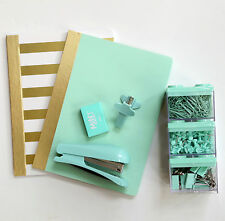 MINT TO BE School Supplies Notebooks Stapler Paper Clips Tacks Binder Clips Gold