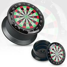 Earrings Ring Black UV Screw Fit Plug with Hollow Classic Dart Board pair 2g