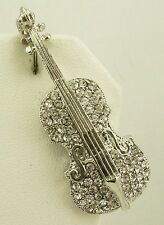 Joan Rivers Pave Violin Brooch   2""