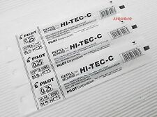 3 Refills for Pilot Hi-Tec-C 0.25mm Hyper Fine Rollerball Gel Ink Pen, Black