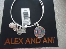 Alex and Ani PEACE LOVE MUSIC Shiny Silver Charm Bangle New W/Tag Card & Box