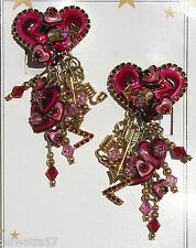 Lunch at the Ritz HEARTTHROB Clip-On Earrings Artist Signed     MSRP $240