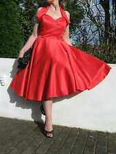 STUNNING PIN UP 1940/50s STYLE FULL CIRCLE SWING/JIVE DRESS 12 ROCKABILLY,