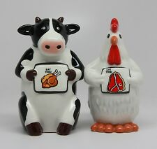 EAT CHICKEN EAT BEEF.COW AND ROOSTER CERAMIC MAGNETIC SALT & PEPPER SHAKERS