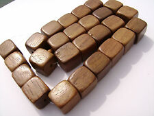"""CL-94 Wood Bead Robles Handmade Brown Wax Polished Cube 15mm 16"""" strand"""