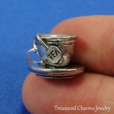 Silver TEA CUP with SAUCER CHARM Coffee Tea Beverage Drink 3D PENDANT *NEW*