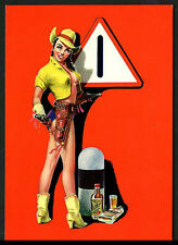 Italian RISQUE Pin-Up Road Sign Legs COWGIRL Gun Booze 1950s ~ RECENT Arrival