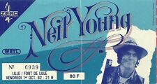 RARE / TICKET CONCERT LIVE - NEIL YOUNG TO LILLE ( FRANCE ) OCTOBER 1982