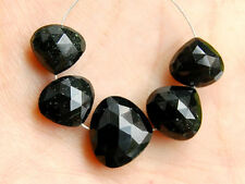 Natural Black Spinel Faceted Heart Straight Drilled Semi Precious Gemstone Beads