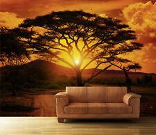 Fototapete Sonnenuntergang Afrika Nr. 1 Größe:420x270cm Tapete Tiere Sonne Baum
