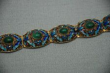 Antique Chinese Art Deco Cabochon Malachite Enamel Silver Filigree Bracelet.