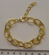 Complete gold plated wide link bracelet chain with extender, ideal for charms