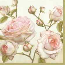20 Paper Lunch Napkins BEAUTY ROSES - SHABBY CHIC DECOUPAGE VINTAGE WHITE Roses