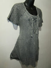 Top Fits XL 1X 2X 3X Plus Tunic Gray V Neck Lace Sleeves A Shaped Soft NWT 783