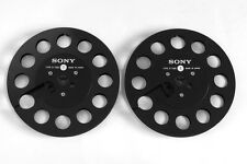 Pair of Original Black SONY R-7MB Precision Empty Metal 7inch 18cm Take Up Reel