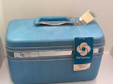 Vintage Samsonite Suitcase Luggage Train Case Cosmetics Blue