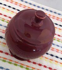 Fiestaware Cinnabar Individual Sugar Bowl with Lid Fiesta Retired Burgundy