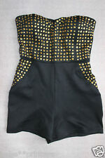 NWT bebe black gold stud strapless top sexy dress romper zip party XS 0 2 hot