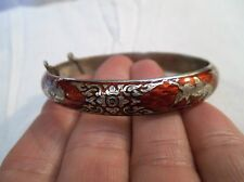 Vintage Siam Dancer Goddess Red Enamel Hinged Bangle Bracelet - 19.9g