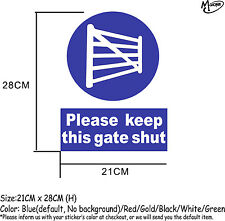 Please keep this gate shut sign stickers reflective countryside farm decals