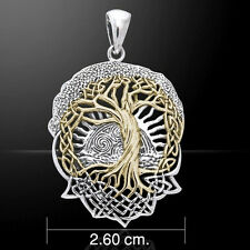 Solstice Tree Pendant Sterling Silver w/ Gold accent CELTIC TREE of LIFE Druid