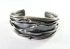 "925 sterling silver 1 1/4"" wide crushed cuff bracelet 7"" - 8 1/2"" wrist"