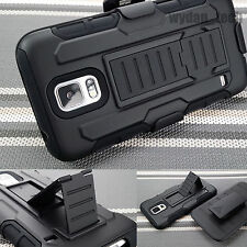 BLACK RUGGED HYBRID HARD CASE COVER+CLIP HOLSTER Tank for Samsung Galaxy S5 SV