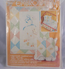 Baby Cross Stitch Quilt Pillow Kit Goose Family Open