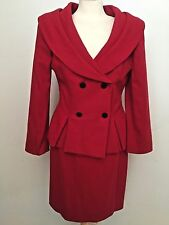 Christian Dior The Suit Vintage Size 8 Skirt Blazer Jacket 100% Wool Red