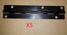 5 pc Aluminum Black Anodized Hinge 5.5 x 1.25 HOLES Door/Cabinet/Piano DIY