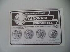 advertising Pubblicità 1979 RUOTE CANONICA FONDMETAL - ASTI