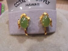 GENUINE GREEN JADE LEAF DESIGN /18KT GF SCREW BACK EARRINGS  1950'S NEW/VINTAGE