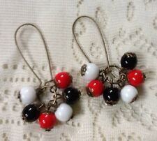 Czech Glass Earrings Red Black White Clusters Opaque Beads Art Deco Mod Vintage
