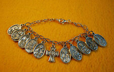 Beautiful Bracelet of RELIC Saint Medals - Catholic Religious Saints 11 Medals