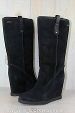 UGG SOLEIL BLACK SUEDE TALL SHEEPSKIN LINED WEDGE PULL ON  BOOTS US 11  NIB