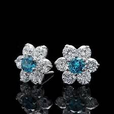 Brilliant Round-Cut 1.5CT Blue White Cluster Earrings 14k Gold Studs Screwback