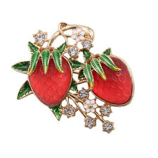 New Arrive Sweet Red Strawberry Crystals Flower Green Leaf Pin Brooch