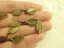 20 leaf charms bronze brass antique tone pendant wholesale bulk UK 3D craft
