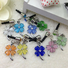 3.5mm Crystal Lucky Clover Earphone dust-proof plug For Iphone Samsung HTC Ipad