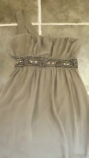 GLAMOROUS MEDIUM BROWN BEIGE BEADED JEWEL OFF ONE SHOULDER PARTY DRESS CHEST 34""