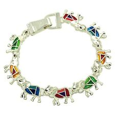 Colorful Lucky Elephant  Magnetic Clasp Charm Bracelet Silver Plated Gift Boxed