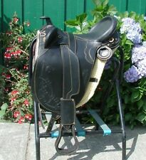 "Genuine Draft Horse 20"" Australian saddle BLACK Beautiful soft leather"