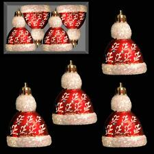 Christmas 4 Pack Red & White Mini Hanging Tree Decorations - Bobble Hats